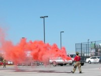 A North Richland Hills Firefighter Pops Smoke for CareFlite at Home Depot